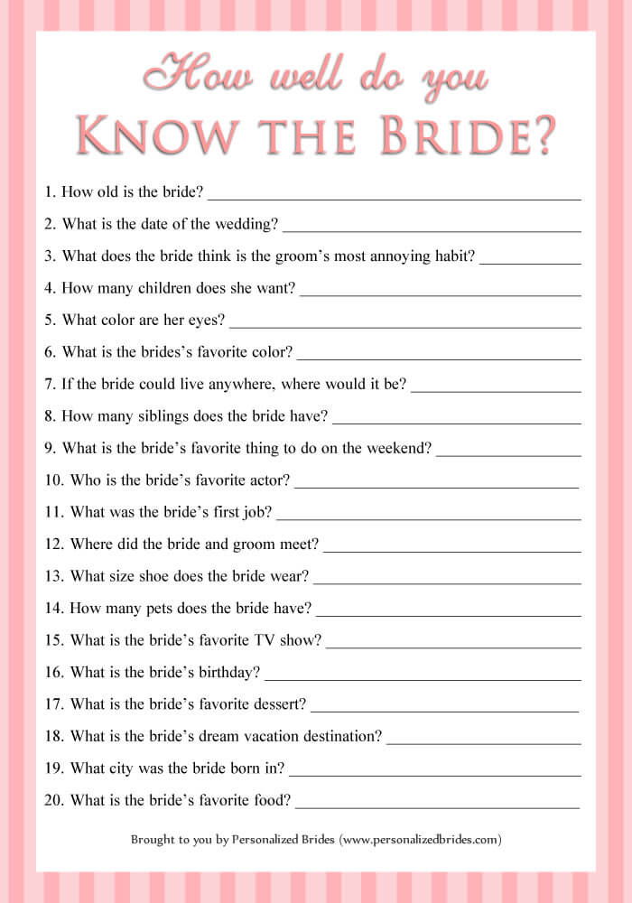 How well do you know the bride - Pink Stripe