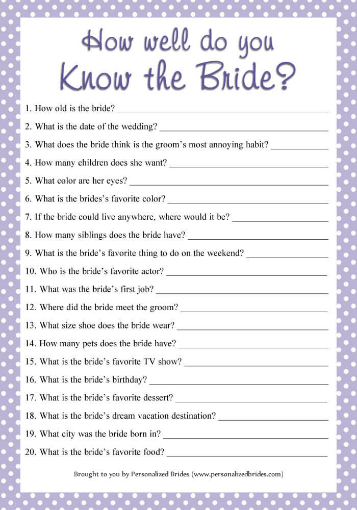 How well do you know the bride game - Polka dots