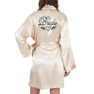 Bride Satin Robe with Heart Laurel