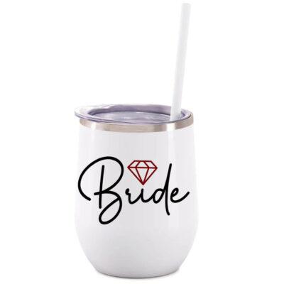 Bride Stainless Steel Wine Tumbler - Lowercase