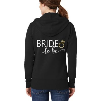 Full-Zip Bride-to-be Hoodie with Hearts - Front