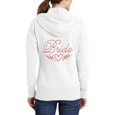 Bride Full-Zip Hoodie with Heart Laurel
