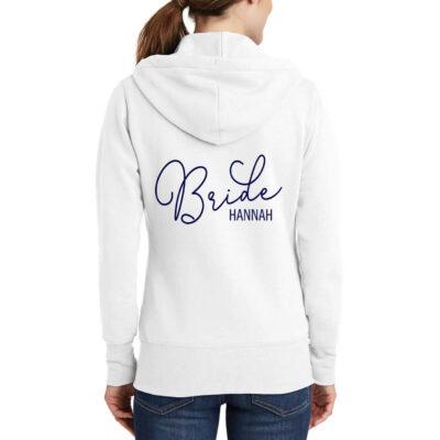 Full-Zip Bride Hoodie with Name