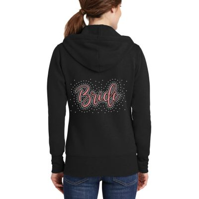 Bride Full-Zip Hoodie with Rhinestone Scatter