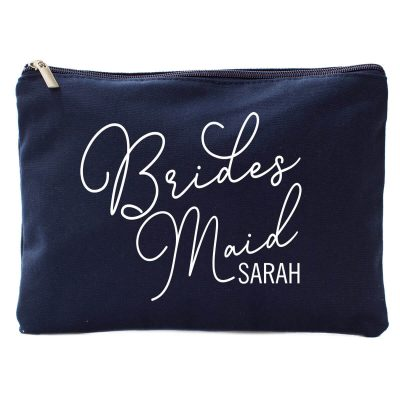 Bridal Party Canvas Cosmetic Pouch with Name