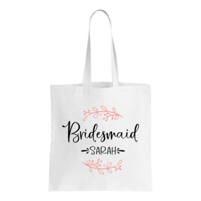 Canvas Bridesmaid Tote Bag with Name & Branches