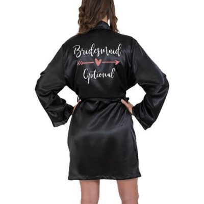 Satin Bridesmaid Robe with Arrow