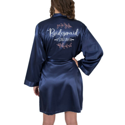 Bridesmaid Satin Robe with Name & Branches