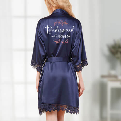 Bridesmaid Satin Robe with Branches - Featured