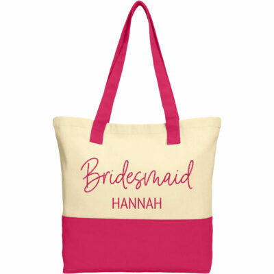 Bridal Party 2-Tone Tote Bag with Name