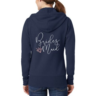Bridesmaid Full-Zip Hoodie with Diamond