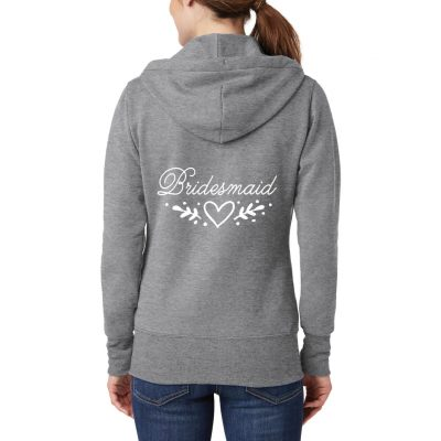 Bridesmaid Full-Zip Hoodie with Heart Laurel