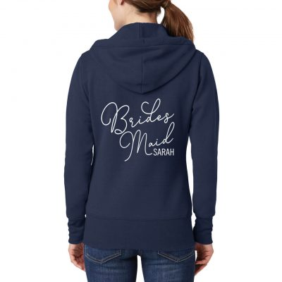 Bridesmaid Full-Zip Hoodie with Name