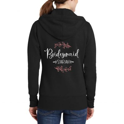 Full-Zip Bridesmaid Hoodie with Name & Branches