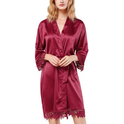 Burgundy Lace Satin Robe Front