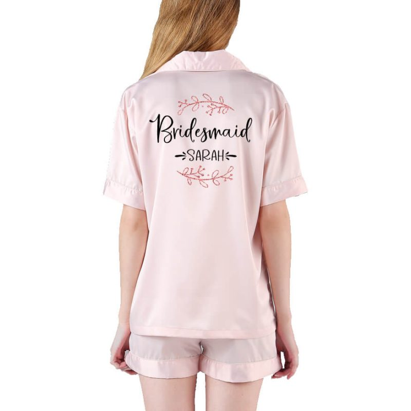 Button-up Bridesmaid Pajama Set with Name & Branches