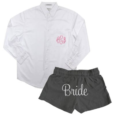 Monogrammed Button-Down Oversized Men's Shirt with Bride Shorts