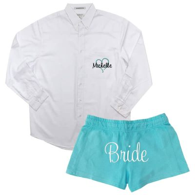 Personalized Button-Down Men's Shirt with Bride Shorts - Name & Heart