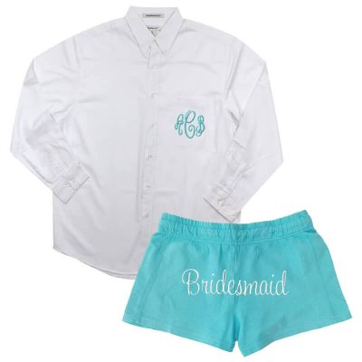 Monogrammed On Down Oversized Men S Shirt With Bridesmaid Shorts