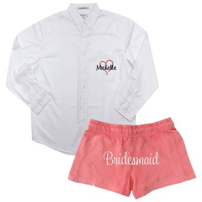 Personalized Button-Down Men's Shirt with Bridesmaid Shorts - Name & Heart