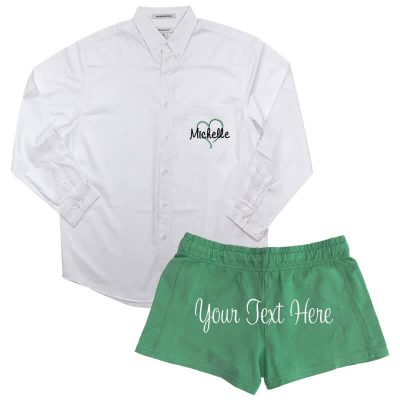 Create Your Own Button-Down Men's Shirt & Shorts Set - Name & Heart