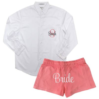 Personalized Button-Down Oversized Men's Shirt with Bride Shorts