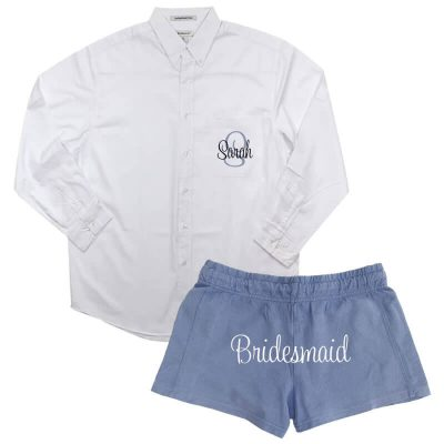 Personalized Button-Down Oversized Men's Shirt with Bridesmaid Shorts