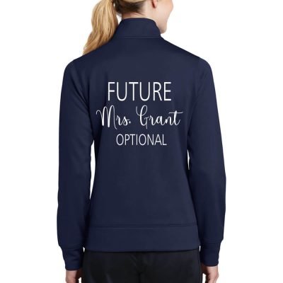 "Personalized ""The Future Mrs."" Full-Zip Rhinestone Bride Jacket"