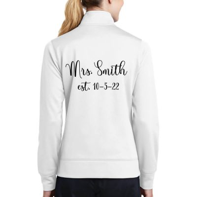 "Personalized ""Mrs."" Full-Zip Rhinestone Bride Jacket with Date"