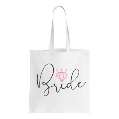 Canvas Bride Tote Bag with Diamond
