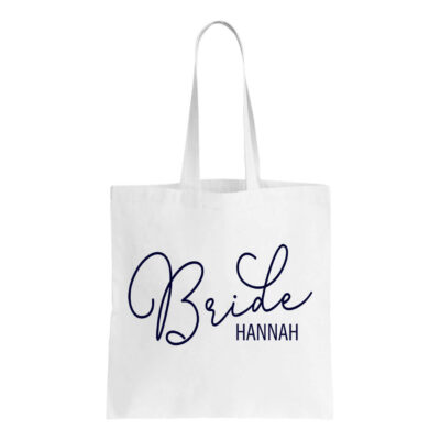 Bride Canvas Tote Bag with Name