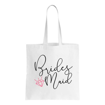 Canvas Bridesmaid Tote Bag with Diamond