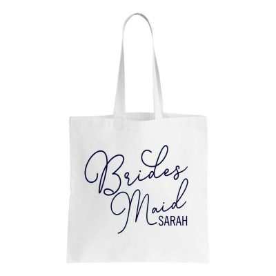 Bridesmaid Canvas Tote Bag with Name