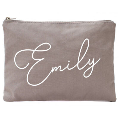 Canvas Cosmetic Pouch with Name