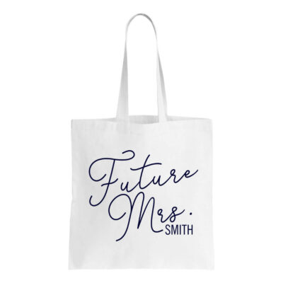 """Future Mrs."" Canvas Tote Bag with Name"