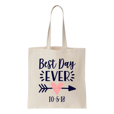 """Best Day Ever"" Canvas Tote Bag"
