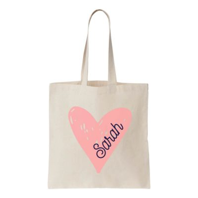 Canvas Tote Bag with Name in Heart