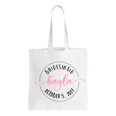 Canvas Bridal Party Tote Bag with Name & Date