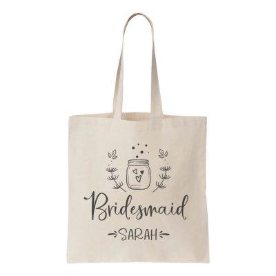 Canvas Bridal Party Tote Bag with Mason Jar