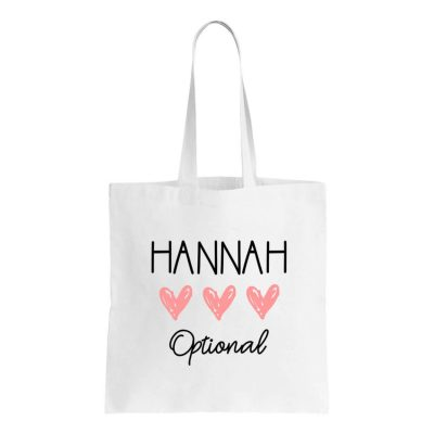 Canvas Tote Bag with Name & Hearts