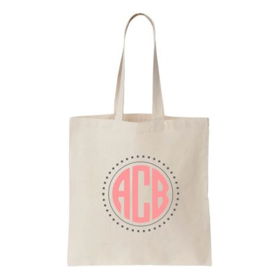 Personalized Canvas Tote Bag with Monogram