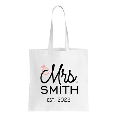 """""""Mrs."""" Canvas Tote Bag with Date"""
