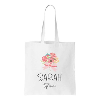 Canvas Tote Bag with Bouquet