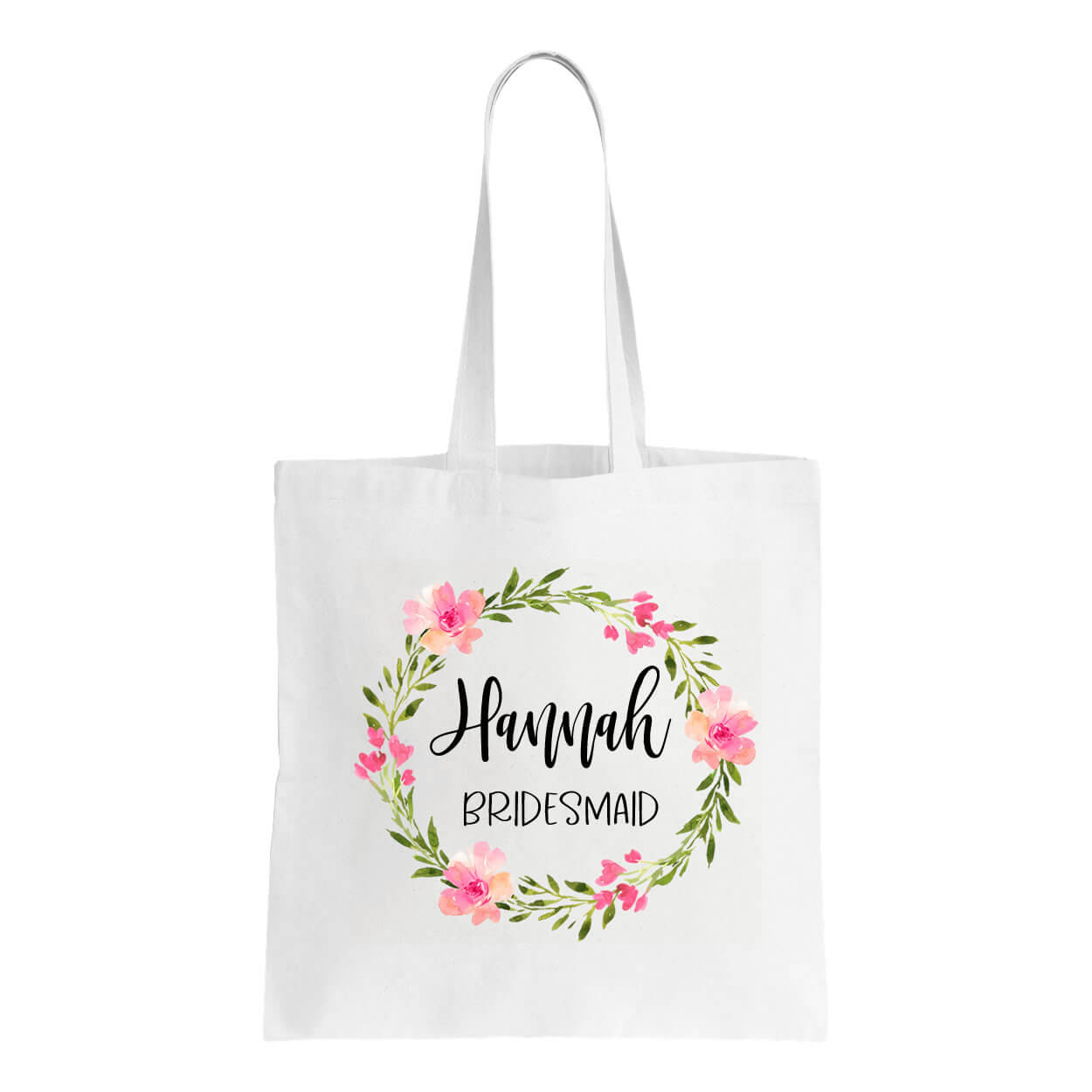 Floral Bridal Party Canvas Tote Bag With Name