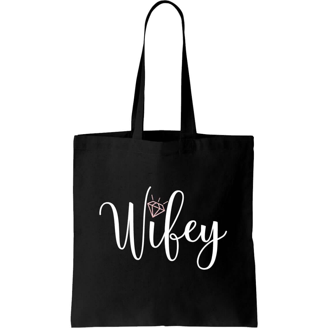 Quot Wifey Quot Canvas Tote Bag Script Personalized Brides