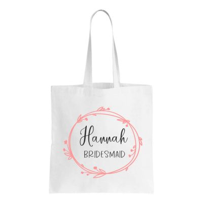Canvas Bridal Party Tote Bag with Wreath