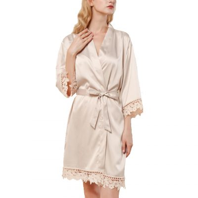 Champagne Lace Satin Robe Front