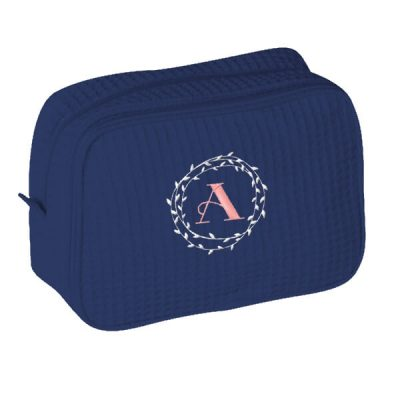 Cosmetic Bag with Wreath Monogram