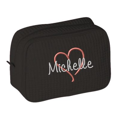 Personalized Cosmetic Bag with Name & Heart