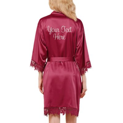 Create Your Own Embroidered Lace Satin Robe